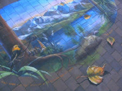 Lake Wanaka Mohua Flax 3D pavement art by Ulla